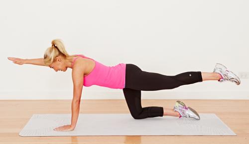 بالا بردن پا و بازو ورزشی جهت کاهش کمردرد