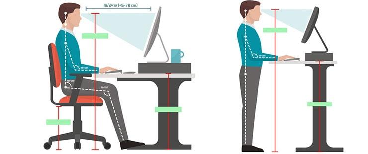 تنظیم ارتفاع نمایشگر و محل صفحه کلید